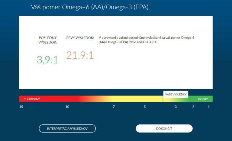 Omega6/3 pomer výsledky